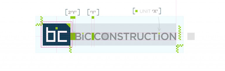 BIC Construction identity - linear logo - spacing matrix
