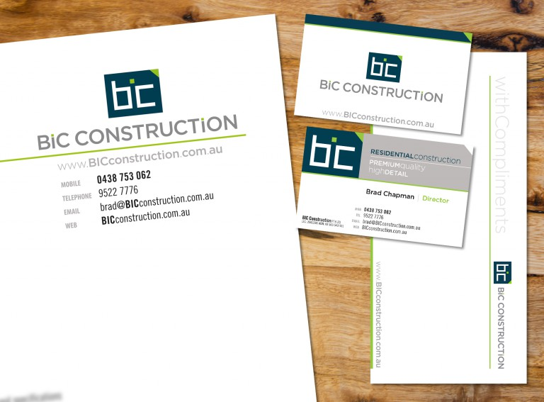 BIC Construction Stationery - business cards, letterhead with comps