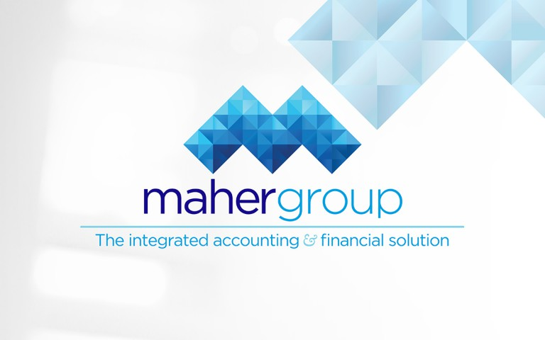 maher group - maher group 4 colour logo stack with tagline and faceted background