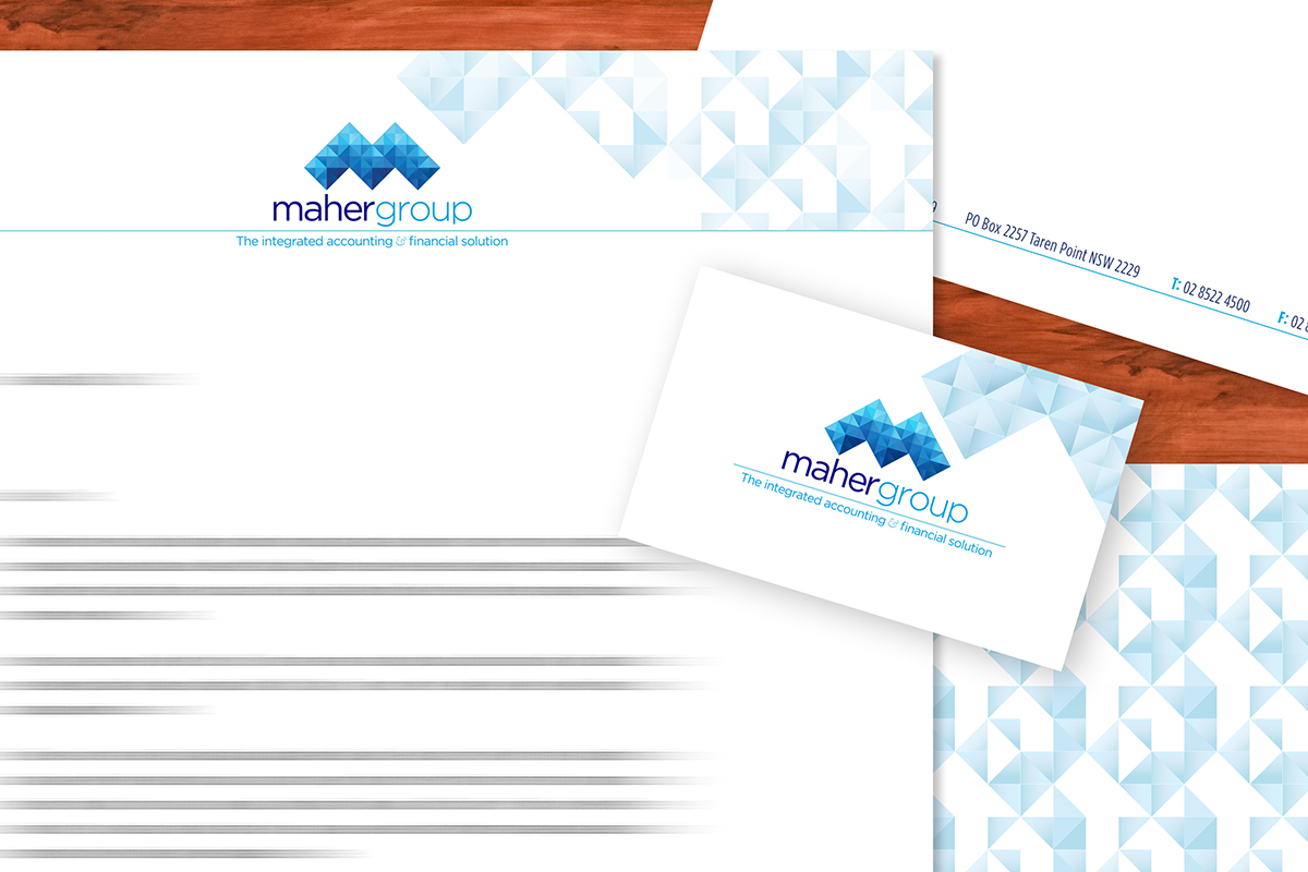 Maher Group Stationery mockup closeup