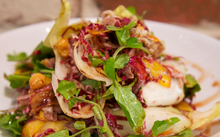 Crispy Duck Salad, Nectarine, Watercress, Hazelnut & Witlof Salad with Vino Cotta Dressing