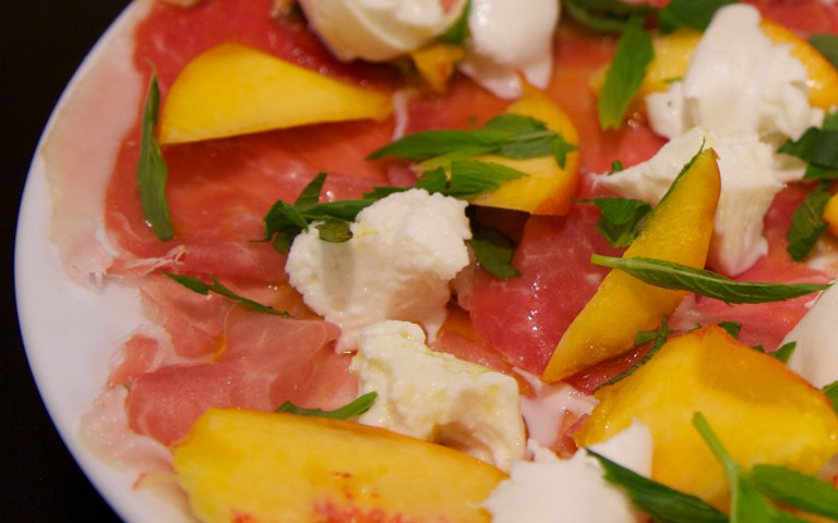 Proscuitto Plate with Peach, Mint & Buffalo Mozzarella