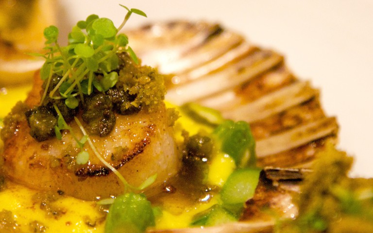 Seared Scallops with Sweet Corn, basil Puree, Asparagus, Herb Pangrattao Lemon Caper & Burnt Butter
