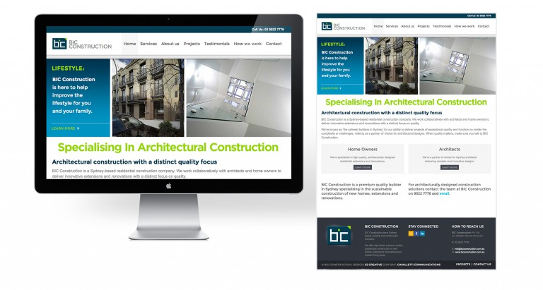 BIC Construction - responsive website design - home