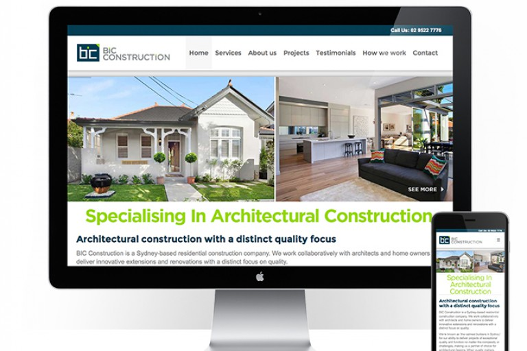 BIC Construction - responsive website design - feature
