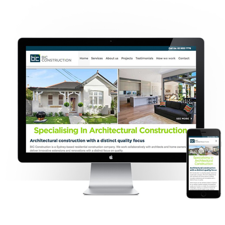 BIC Construction - responsive website design - feature