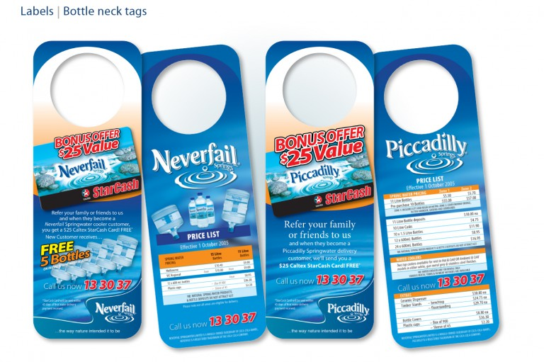 Neverfail Springwater Limited - bottle neck tag flyers
